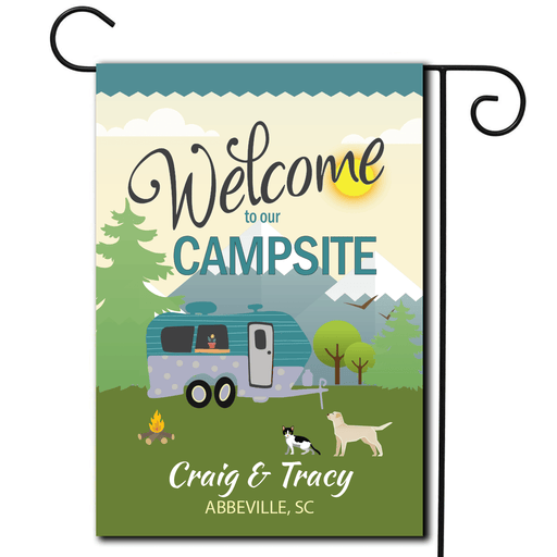 "Personalized RV Pet Flag ""Welcome To Our Campsite"""