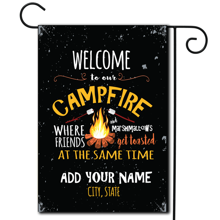 "Personalized RV Camping Flag ""Welcome To Our Campfire-Toasted"""