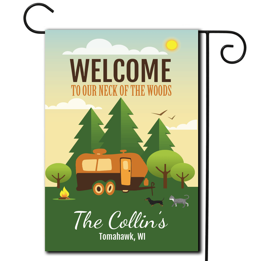 "Personalized RV Pet Flag ""Welcome To Our Neck Of The Woods"""