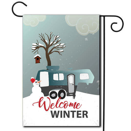 "RV Campsite Flag 5th Wheel ""Welcome Winter"""
