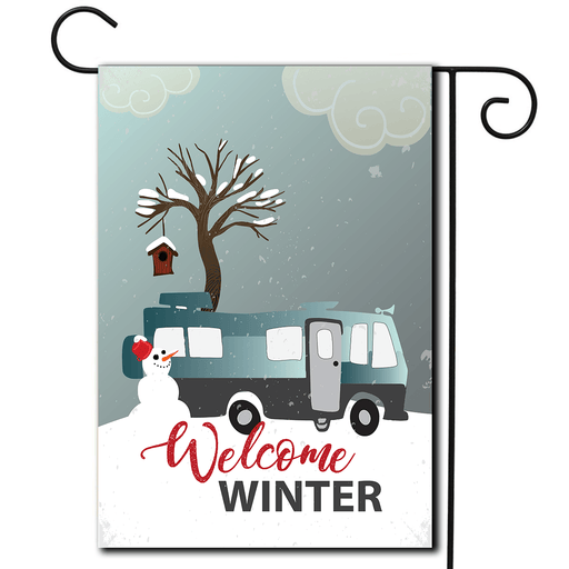 "RV Campsite Flag Motorhome ""Welcome Winter"""