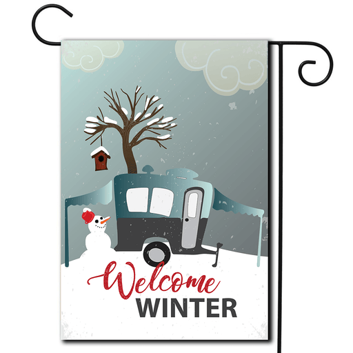 Beautiful illustration on this campsite flag of a winter scene with pop up rv and snowman.  Saying Welcome Winter.