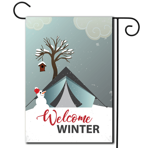 "RV Campsite Flag Tent ""Welcome Winter"""