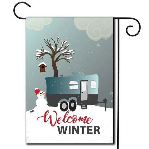 "RV Campsite Flag Toy Hauler ""Welcome Winter"""