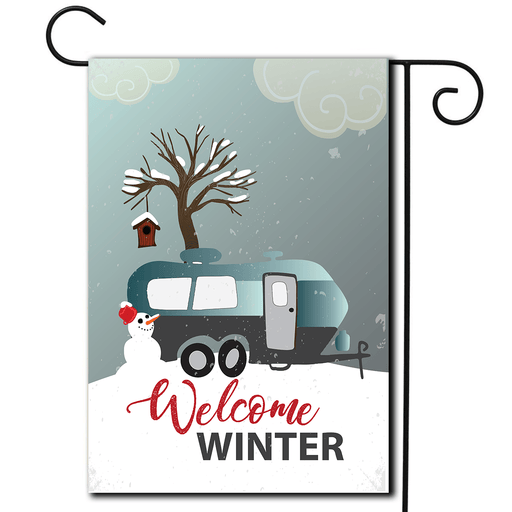 "RV Campsite Flag Travel Trailer ""Welcome Winter"""