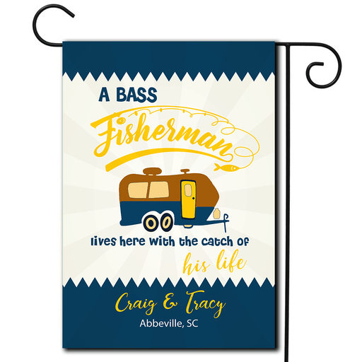 "Personalized RV Camping Flag ""A Fisherman Lives Here With The Catch Of His/Her life"""