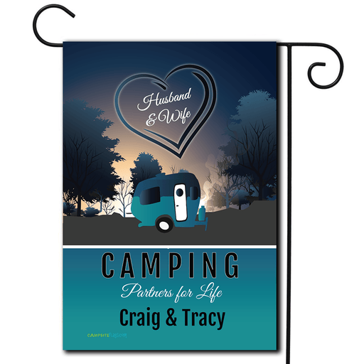 "Personalized RV Camping Flag ""Husband and Wife Camping Partners For Life"""