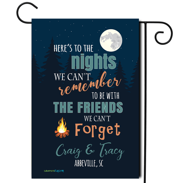 "Personalized Camping Flag ""Here's To The Nights We Can't Remember..."""