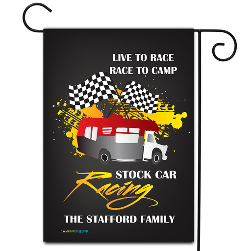 "Personalized RV Camping Flag ""Live to Race Race to Camp"""