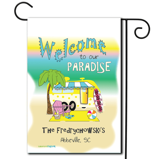 "Personalized RV Camping Beach Flag ""Welcome To Our Paradise"""