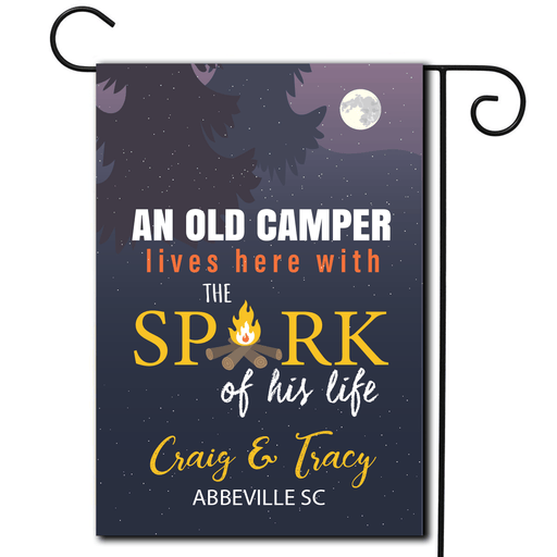"Personalized Campsite Flag ""An Old Camper Lives Here With The Spark Of His Life"""