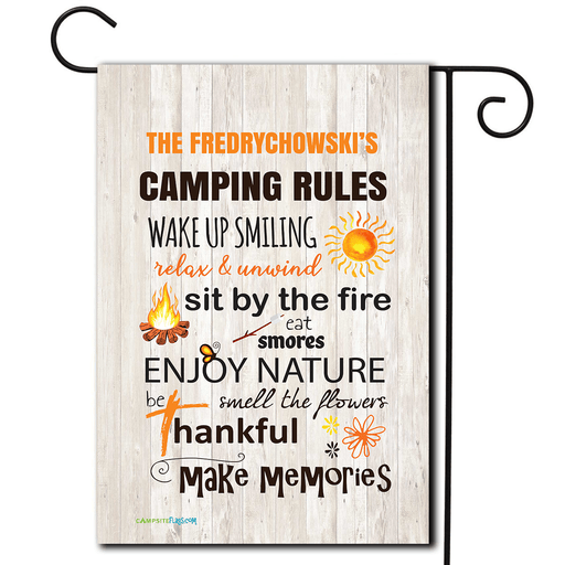 "Personalized Campsite Flag ""Camping Rules"""