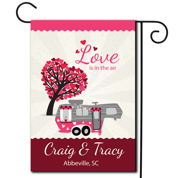 "Personalized Valentines Day Flag ""Love Is In The Air"""