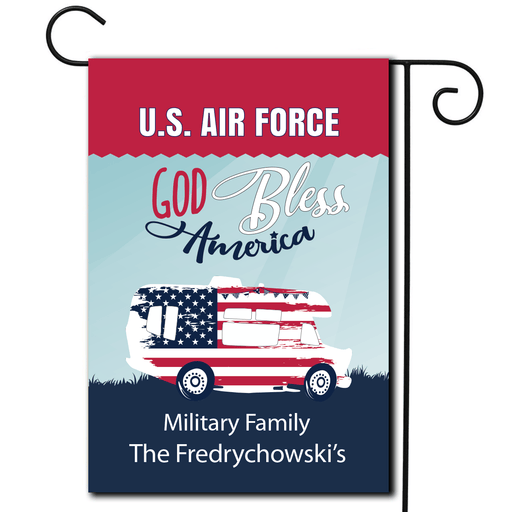 "Personalized Military RV Camping Flag ""God Bless America"""