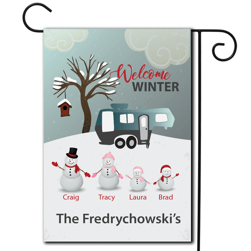 "Personalized RV Camping Outdoor Flag ""Welcome Winter Snowmen"""