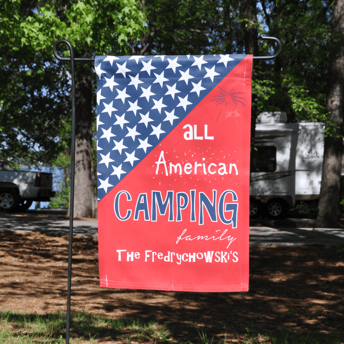"Personalized Camping Holiday Flag ""All American Camping Family"""