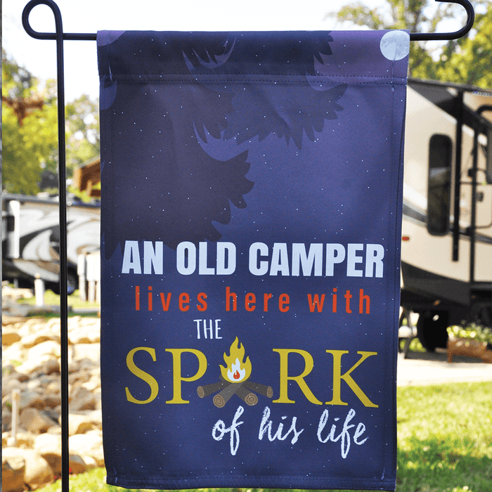 "Funny Campsite Flag ""An Old Camper Lives Here With The Spark Of His Life"""