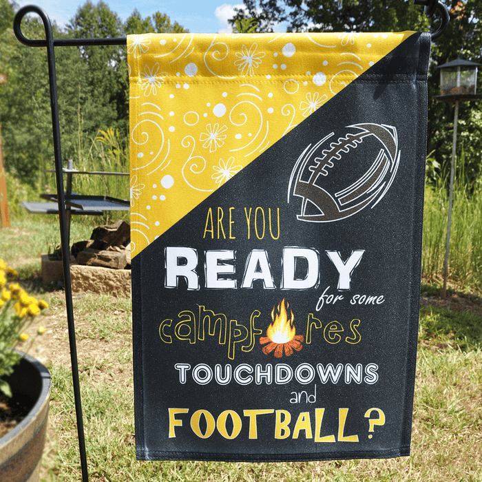 "Camper Flag ""Are You Ready For Some Campfires, Touchdowns and Football?"""