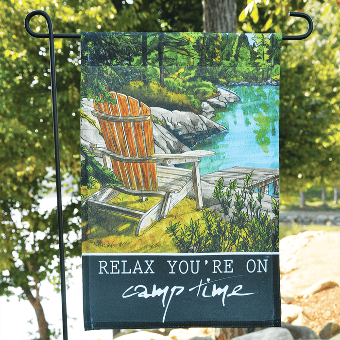 "Camper Garden Flag ""Relax You're On Camp Time"""