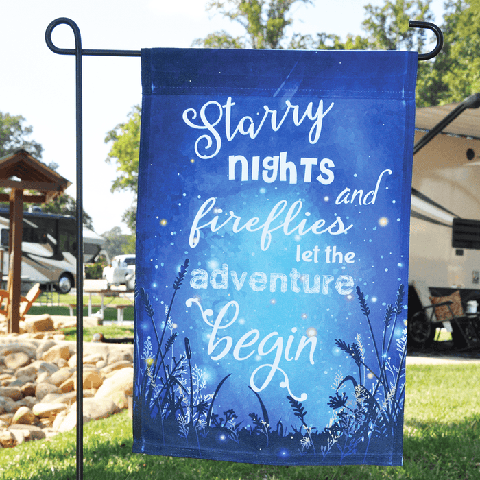 "Campsite Flag ""Starry Nights And Fireflies Let The Adventure Begin"""