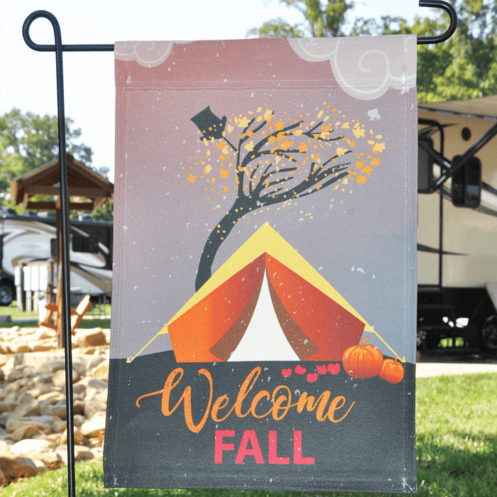 "Tent Camping Flag ""Welcome Fall"""