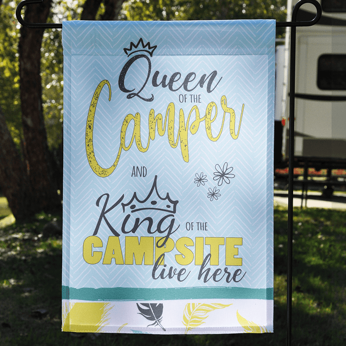 "Camper Flag ""Queen Of The Camper And King Of The Campsite"""