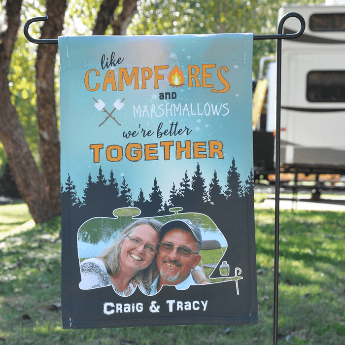 "Personalized RV Camping Photo Flag ""Like Marshmallows and Campfires We Go Better Together"""
