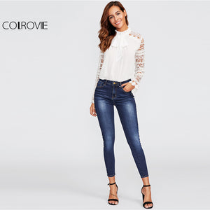 COLROVIE  Skinny Pearl Beading Faded Wash Jeans Blue Mid Waist Zipper Fly Plain Denim