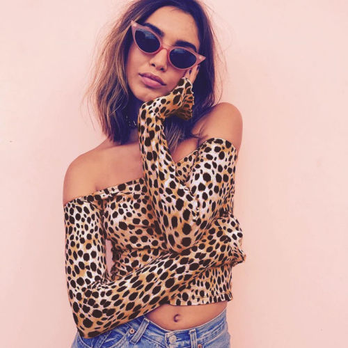 Sexy Women Off Shoulder Leopard Print Slim T-Shirts Bandeau Tops Long Sleeve Short Bodycon
