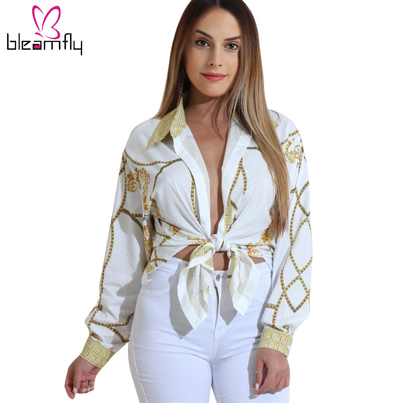 Gold Chain Print Blouses for Women Long Sleeve Turn Down Collar Button up