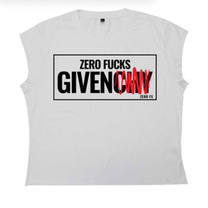 Zero Fuck's Given Crop Tee - White - Zero Fs Clothing