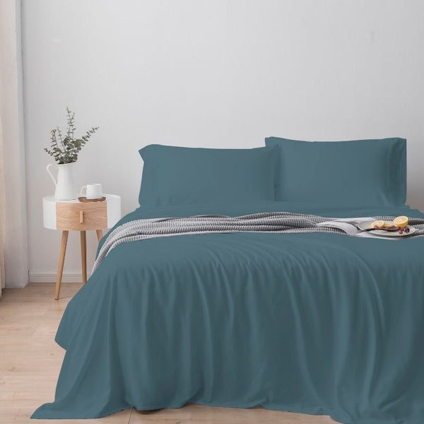 100% Organic Bamboo Lyocell Quilt Cover Set - Dusty Blue