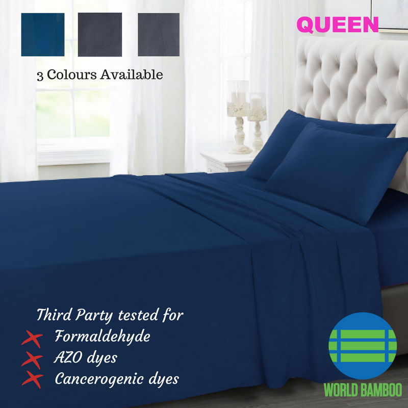 100% Organic Bamboo Bed Sheet Set 400 TC - Queen