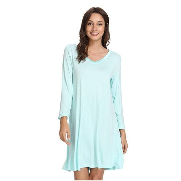 Bamboo Long Sleeve V Neck Nightgown