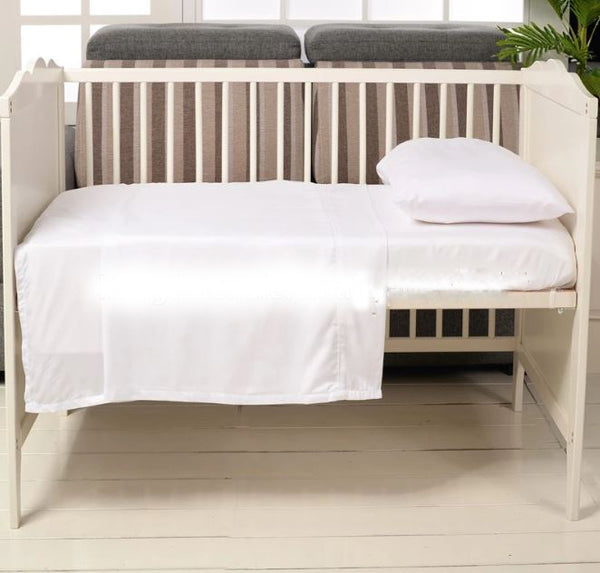 Bamboo Baby Cot Sheet Set - White