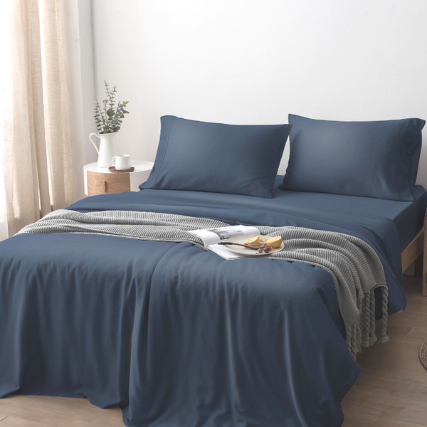 100% Organic Bamboo Lyocell Quilt Cover Set - Midnight Blue