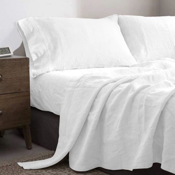 Pure French Flax Linen Sheet Set - White