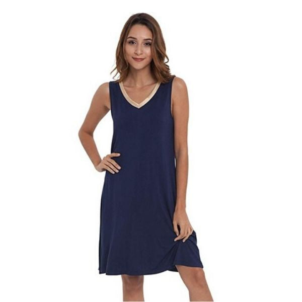 Sleeveless V Neck Nightgown Sleep Dress