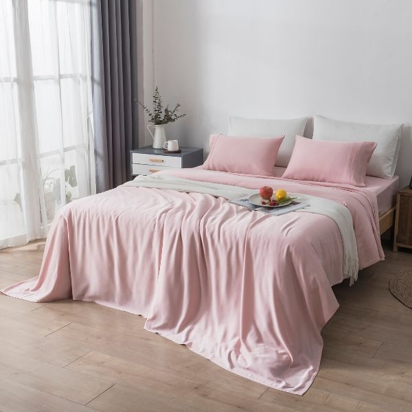 100% Organic Bamboo Sheet Set 400 TC  - Calming Pink