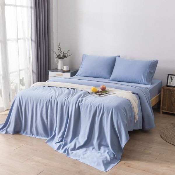 100% Organic Bamboo Quilt Cover Set - Stone Blue