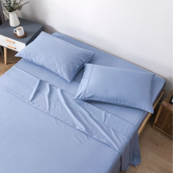 100% Organic Bamboo Sheet Set 400 TC  - Stone Blue
