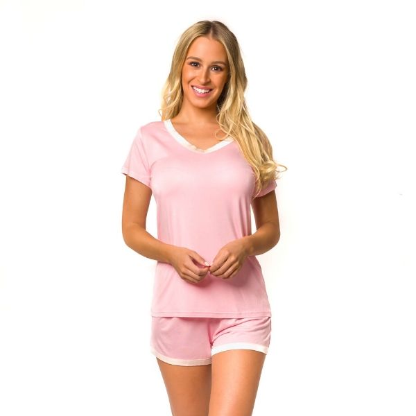 V Neck Tee Short Pajamas Set