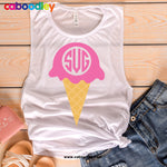 Ice Cream Monogram Svg Svg Cut File, Dxf Cut File, Clipart, Printable, Instant Download