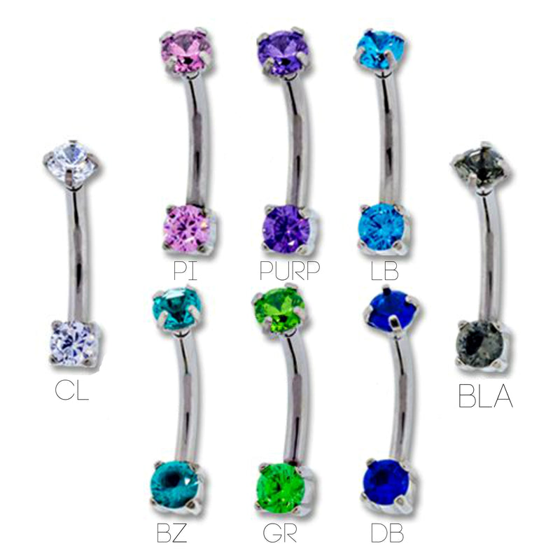 Prong Gem Curved Barbells