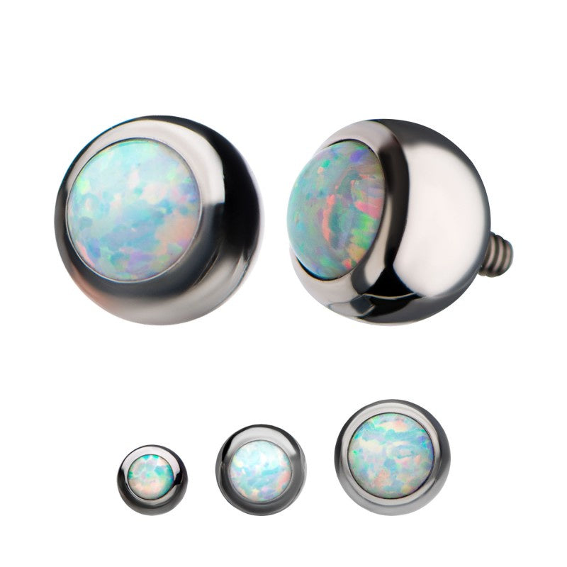 Bezel Set White Opalite Ball Top