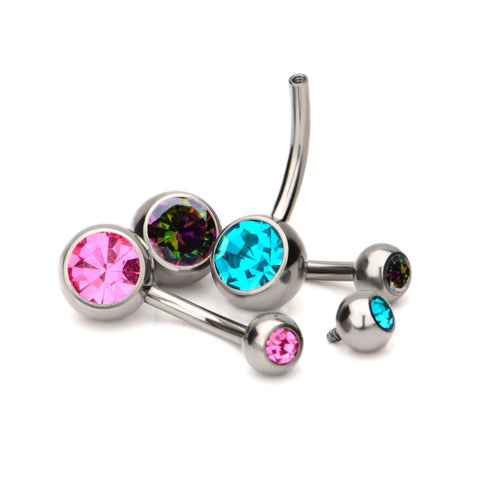 Bezel Gem Navel Bar