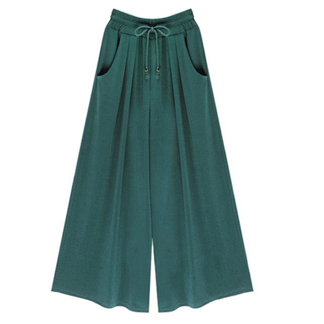 Drawstring Wide Leg Pocket Pants