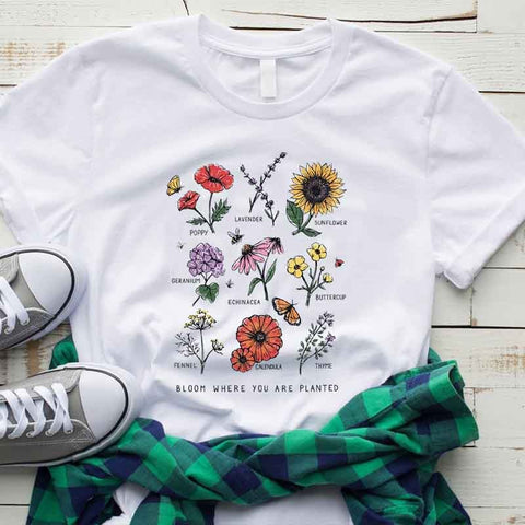 Image of Bloom Where You Are Planted Flower T- Shirt