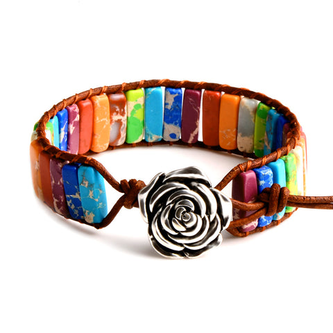 Image of Multi-Color Chakra Natural Stone Positivity Bracelet