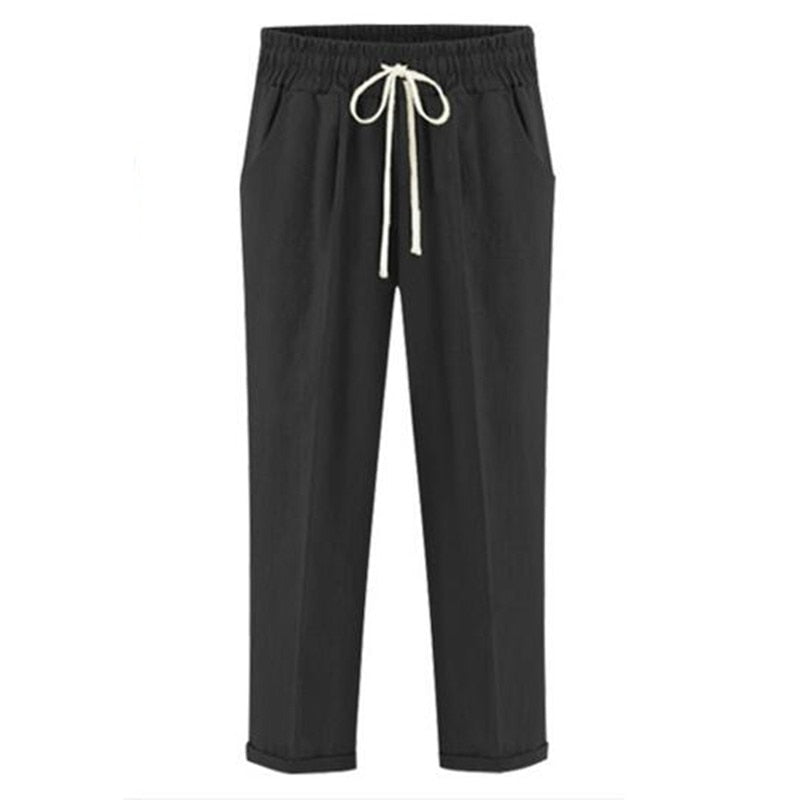 Drawstring Elastic Waistband Pocket Pants